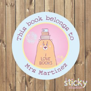 Personalised Book Labels - Reading Bear Design